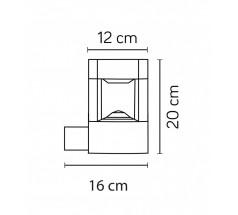 Ogrodowy Kinkiet na żarówkę Su-ma Fan Kwadrat 20cm GX53 popielaty