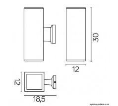 Kinkiet Su-ma Adela 2xE27 duży kwadratowy czarny srebrny popielaty