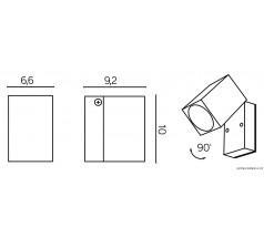Ogrodowy Kinkiet Su-ma Mini 2xGU10 kwadratowy popielaty