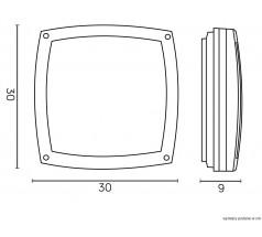 Ogrodowa Plafoniera Su-ma Nex 2xE27 kwadratowa czarna srebrna