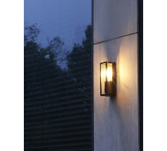 Ogrodowy Kinkiet na żarówkę Su-ma Porto 26,5cm E27 kwadratowy czarny