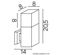 Ogrodowy Kinkiet Su-ma Cube E27 kwadratowa czarna srebrna popielata
