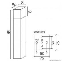 Ogrodowy Słupek Su-ma Cube 58 cm E27 kwadratowa czarna srebrna popielata