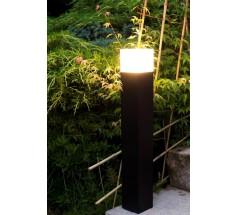 Ogrodowy Słupek Su-ma Cube 83 cm E27 kwadratowa czarna srebrna popielata