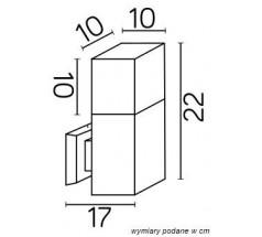 Ogrodowy Kinkiet Su-ma Cube Max E27 kwadratowa czarna srebrna popielata