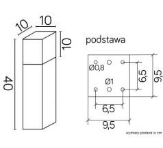 Ogrodowy Słupek Su-ma Cube Max 40 cm E27 kwadratowa czarna srebrna popielata