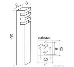 Ogrodowy Słupek na żarówkę Su-ma Rado 2 50cm E27 kwadratowy czarny srebrny popielaty