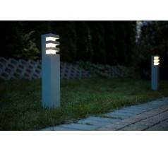 Ogrodowy Słupek Su-ma Rado 3 25cm E27 kwadratowy czarny srebrny popielaty