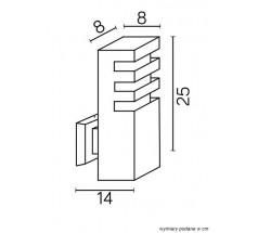 Ogrodowy Kinkiet Su-ma Rado K 25cm E27 kwadratowy czarny srebrny popielaty