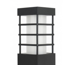 Ogrodowy Kinkiet Su-ma Rado II K E27 kwadratowy czarny srebrny popielaty