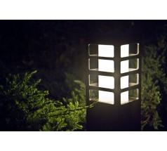 Ogrodowy Słupek na żarówkę Su-ma Rado III 2 50cm kwadratowy czarny srebrny popielaty