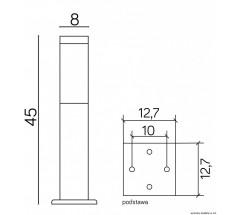 Ogrodowy Słupek na żarówkę Su-ma Inox 45cm E27 kwadratowy czarny srebrny
