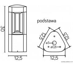 Ogrodowy Słupek na żarówkę Su-ma Fan trójkąt 30 cm GX53 popielaty