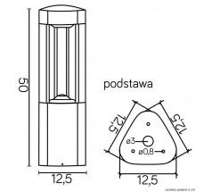 Ogrodowy Słupek na żarówkę Su-ma Fan trójkąt 50 cm GX53 popielaty