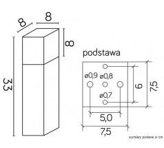 Ogrodowy Słupek na żarówkę Su-ma Cube 33 cm E27 kwadratowa czarna srebrna popielata