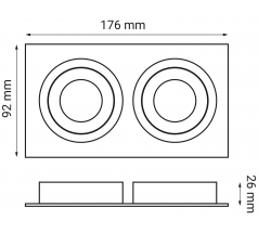 Oprawa podtynkowa OXYLED CROSTI MODI DUE prostokątna 2xGU10 biała czarna