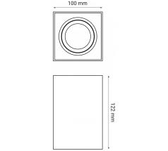 Oprawa natynkowa OXYLED CROSTI CORTO kwadratowa GU10 biała czarna