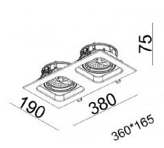 Oprawa podtynkowa na żarówkę Mistic Double Quad QR111 12V biała czarna