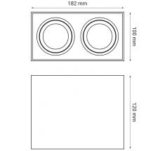 Oprawa natynkowa OXYLED CROSTI CORTO podwójna prostokątna 2xGU10 biała czarna srebrna