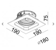 Oprawa podtynkowa na żarówkę Mistic Quad QR111 G53 12V biała czarna