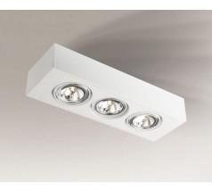 Lampa natynkowa Shilo UTO H G53 3x15W prostokątna biała czarna