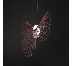 Lampa wisząca na żarówkę Loomiosa Space E27 czerwona srebrna czarna