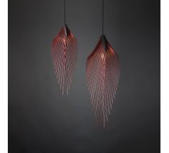 Lampa wisząca na żarówkę Loomiosa Leaf E27 czarna czerwona srebrna