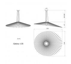 Lampa wisząca na żarówkę Loomiosa Galaxy E27 czerwony srebrny czarny