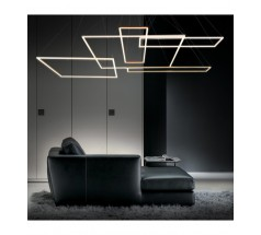 Lampa wisząca LED Ramko Akira 85 45W 3000K kwadratowa biała czarna złota